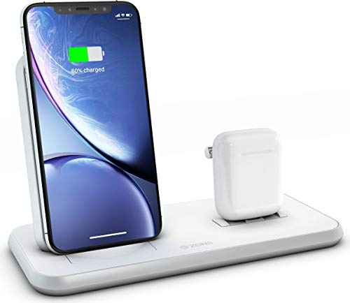 ZENS Wireless Aluminium Docking Station, 10-Watt Charging Stand and Lightning Dock, Qi and MFi Certified, Supports Apple Fast Charge, Power Adaptor Included, White