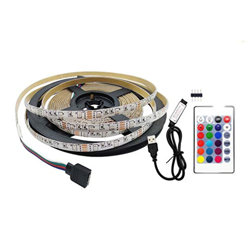 DSFEOIGY TV Backlight Monitor RGB USB Strip Light, DC 5V Non-Impermeable White TV Lighting Kit con Control Remoto HDTV Desktop PC (Size : 5m)