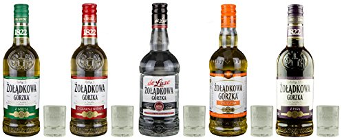 Żoładkowa Gorzka Set: 5 Flaschen + 5x Free Shot Glas | Żoładkowa Gorzka Minze, Sauerkirsche, Klar, Klassik, Feige