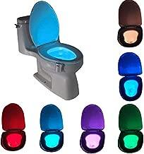 Motion Sensor LED Toilet Night Light, Komire Light Detection Motion Activated Toilet Light with 8-Color Changing, Battery Operated Waterproof Washroom Light Toilet Seat Light Inside Toilet Bowl