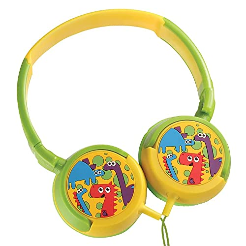 Volkano Wired Kids Headphones with Hearing Protection, Padded Lightweight Kiddy Headset, 85 dB Safe for Children, Girls/Boys, E-Learning, Travel, PC, Cellphones [Yellow/Green] - Dino Kiddies Series