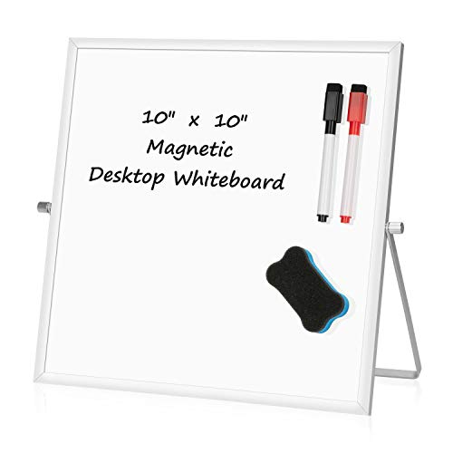 """Small Dry Erase White board – Desktop Portable mini WhiteBoard easel 10""""x 10"""", 360 Degree Reversible To Do List Notepad For Office, Home, Kitchen, School."""