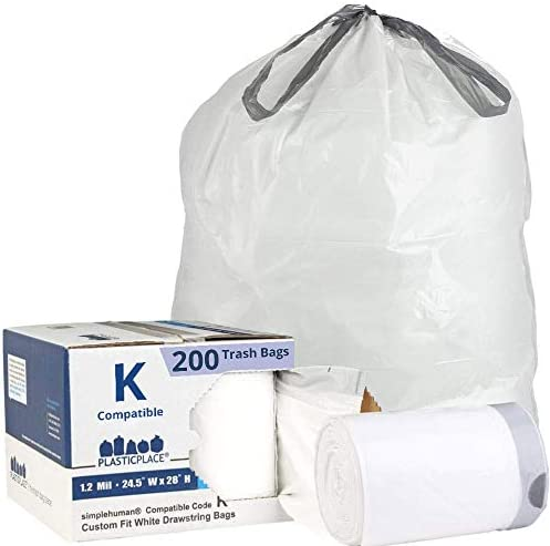 Plasticplace Trash Bags simplehuman x Code K Compatible 200 Count White Drawstring Garbage Liners product image