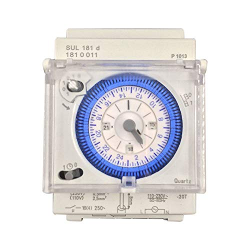 SODIAL Interruptor Temporizador Mecánico Analógico 110V-220V 24 Horas Programable Diariamente 15 Minutos Reléinterruptor De Tiempo De Ajuste SUL181D Caliente