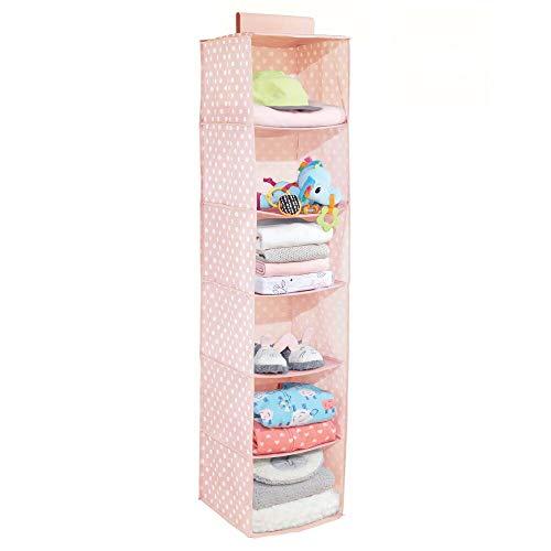 mDesign Estantería colgante con 6 apartados – Organizador colgante de fibra sintética con estampado de puntos para cuarto infantil – Estantes para colgar ropa, zapatos, etc. – rosa/blanco