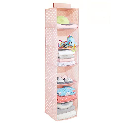 mDesign Soft Fabric Over Closet Rod Hanging Storage Organizer with 6 Shelves for Child/Kids Room or Nursery - Polka Dot Pattern, Light Pink with White Dots