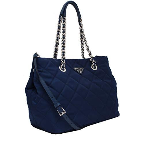 Prada Women's Dark Blue Quilted Tessuto Chain Strap Shoulder Bag Tote 1BG740