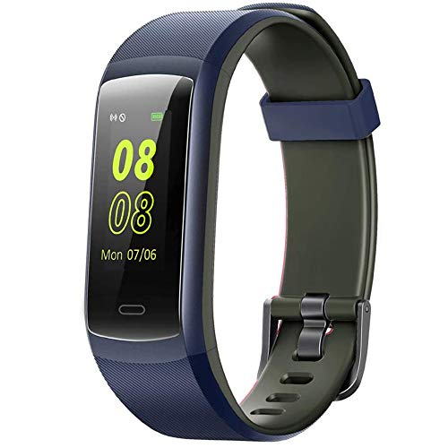 Fitness Tracker,Willful Heart Rate Monitor Activity Tracker Pedometer with Step Counter Sleep Monitor 14 Sports Tracking,Color Screen IP68 Waterproof,Fitness Watch for Men Women Kids (Blue/Gray)