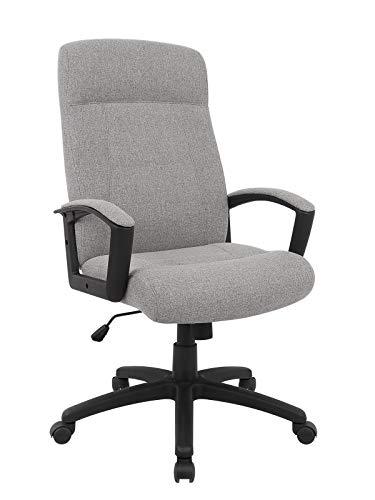SixBros. Bürostuhl, Schreibtischstuhl, hohe Rückenlehne & Dicke Polsterung, ergonomischer Drehstuhl für's Büro oder Home-Office, stufenlos höhenverstellbar & leichtläufig, grau 2810-1C/8398
