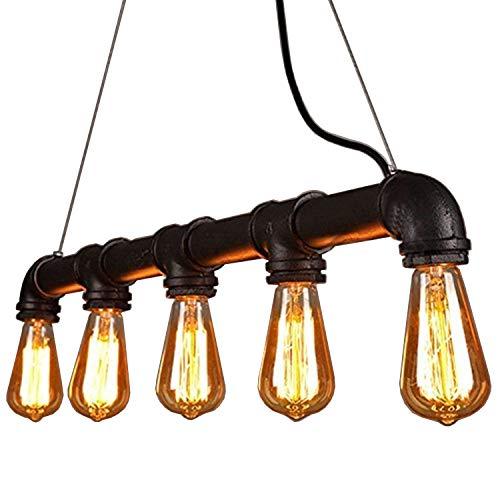 Asvert Pendelleuchte Industrielle Wasserrohr Geformt Hängelampe Deckenleuchte Vintage Light Edison Rustikale Schwarz Retro Licht Anhänger Steampunk Metall Wasser Rohr Lichter E27 60W mit 5 Fass