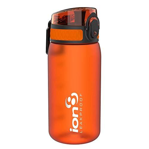 Ion8 Botella Agua Niños Sin Fugas, Sin BPA, Monos, Naranja