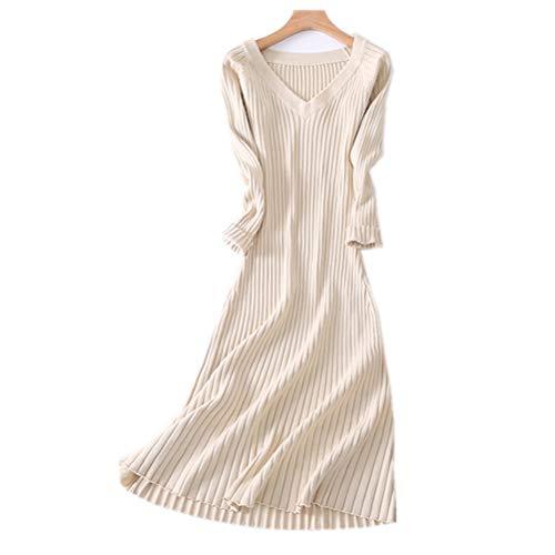 RRMY Damen Kleid aus Kaschmir-Mix-Strickrock (Beige, Small)