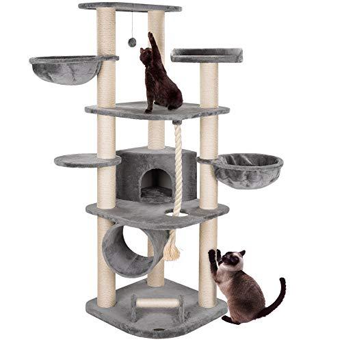 happypet® Kratzbaum für Katzen groß 181 cm hoch CAT021 Kletterbaum Katzenbaum, stabile extra dicke Sisal-Säulen ca. 11cm, Haus Spieltunnel, große Liegemulden (Belastbarkeit 15 kg), Tau Kratzrolle GRAU
