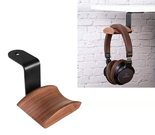 Kopfhörer-Haken-Halterung, Headset-Ständer, Haken, Wandhalterung, Walnussholz, Kopfhörer-Halter für Audio-, Studio- und PC-Gaming-Kopfhörer (Walnuss-Z)