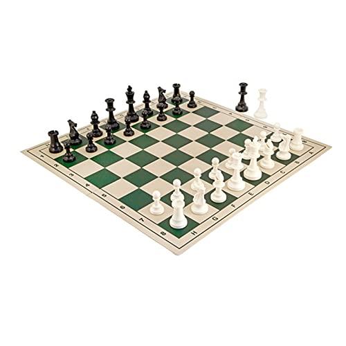 BIAOYU Juego de Ajedrez Tablero de ajedrez Plegable de 20 Pulgadas, Serie de ajedrez de Campeonato Europeo, Especial para niños, Estudiantes y Adultos Juego de Mesa (Color : Green)
