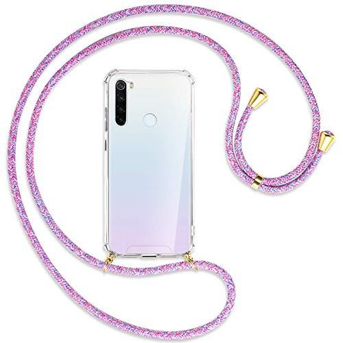mtb more energy® Collar Smartphone para Xiaomi Redmi Note 8T (6.3'') - Unicornio Morado/Oro - Funda Protectora ponible - Carcasa Anti Shock con Cuerda