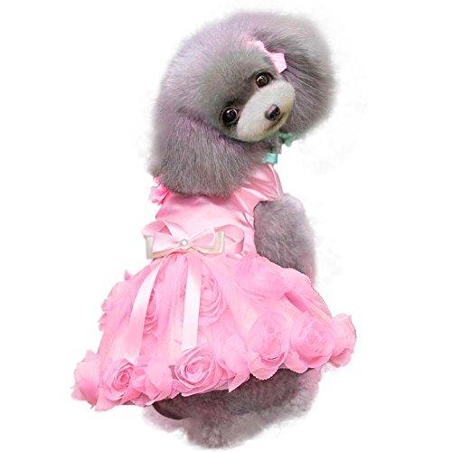 FLAMEER Haustier Hund Party Kleid Kostüm Tutu Rock Geschichteten Rosen Dekor Kleidung Größe XS XL - Rosa, S