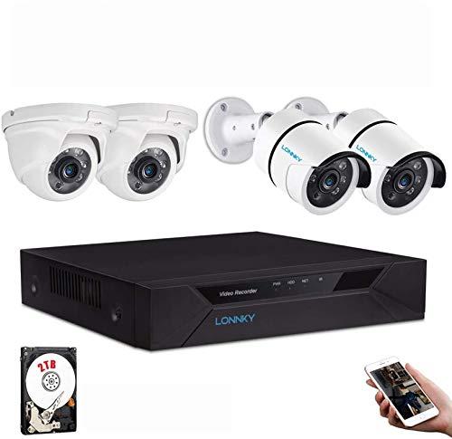 Tonton 1080P TVI Kit de Surveillance Vidéo Système 8CH HDMI DVR Enregistreur avec 4 caméras HD 2 MP pour l'intérieur et l'extérieur, poignée de Frange Via APP Android/iOS Microphone