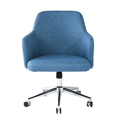 Homylin Office Chair Mid Back Fabric Adjustable Height Rolling Computer Desk Chair Metal Legs for Home Blue