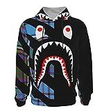 NiYoung Slim Pullover Sweatshirt for Boys Girls Teens Junior, Scottish Tartan Plaid Blue bapes Shark Teeth Logo Black Hoodie with Front Pocket Hip-Hop Streetwear for Picnic Gym Yoga