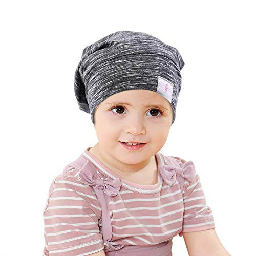 Greatremy Beanie Kids Silky Satin Lined Hair Bonnet Sleep Cap-Adjustable Elastic Band Slouchy Cotton Hat for Teens Baby Girl Boy Infant Toddler Child Sleeping Natural Curly Hair Black White