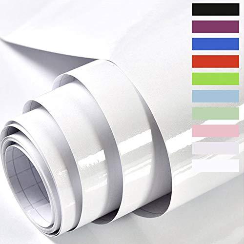 Hode Papier Adhesif pour Meuble Cuisine Porte Mur Stickers Meuble Vinyle Decoratif Autocollants Meuble Rouge avec des Paillettes 60X300cm (Blanc)