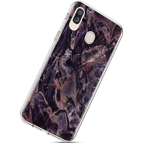 Herbests Kompatibel mit Samsung Galaxy A40 Handyhülle Marmor Muster Hülle Case Cover Marble Muster Durchsichtig Crystal Clear Schutzhülle Kratzfest Klar Weich Soft Dünn Cover,Kaffee