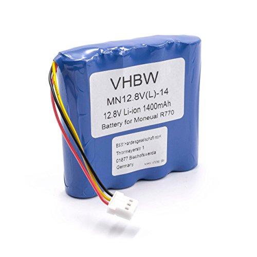 vhbw Batería recargable compatible con Moneual Rydis H65, H67, H67 Pro, H68 Pro aspiradora, robot de limpieza (1400 mAh, 12,8 V, Li-Ion / LiFePO4)