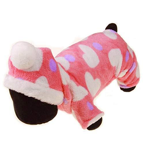 Honden onesie, hart patroon warm roze winter hondenkleding, capuchon leuke winter kat herfst voor hond koud weer(M)