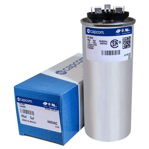 GE / Genteq 27L889 97F9851 - 45 + 5 uf MFD 440 Volt VAC Genteq Replacement Round Dual Run Capacitor