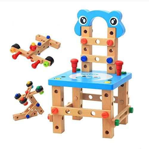 ZHUZEwei Kinder Pädagogische Früherziehung Aus Holz Demontage Montage Mutter Kombination Spielzeug Freie Montage Gummi Holz , Holzschraube Multi Tool Stuhl (Color : Blue)
