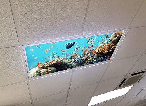 Ocean Reef - 2ft x 4ft Drop Ceiling Fluorescent Decorative Ceiling Light Cover Skylight Film