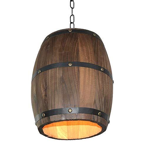 L-YINGZON comodino e Lampade da tavolo, Retro in legno Lampadari Barrel, LED industriale d'epoca in legno massiccio Bar Illuminazione lampadario decorativi Lampadari American Cafe Aisle Tavolo da pran