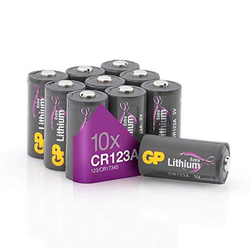 GP Batterien CR123A 3V Lithium Extra Series (10 Stück CR123 Batterien 3 Volt) für Smart Home, Alarmanlagen, Taschenlampen, Foto-Zubehör und vieles mehr (in plastikfreier Verpackung)