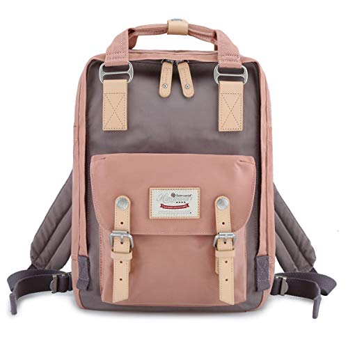 Himawari School Waterproof Backpack 14.9' College Vintage Travel Bag for Women,14 inch Laptop for Student (pink&Gray)