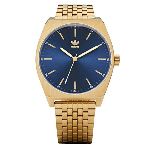 adidas Originals Watches Process_M1. 6 Link Stainless Steel Bracelet 20mm Width (38 mm) - Gold/Navy Sunray