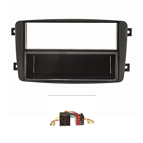 tomzz Audio 2434-007 Radioblende Set passend für Mercedes C-Klasse W203 S203 CL203 CLK C209 A209 Viano Vito schwarz mit Radiioadapter ISO