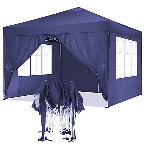 TOOLUCK 3x3 Pavillon Faltpavillon Wasserdicht Pop-Up Pavillon UV-Schutz Gartenpavillon Bierzelt mit 4 Seitenteilen (3x3m mit 4 Seitenteilen, Violett)