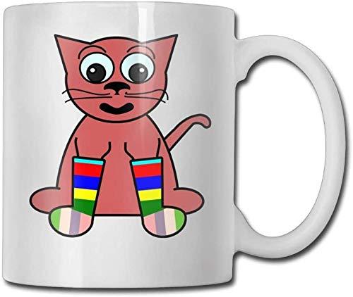Cartoon Cat Sokken Koffie Mokken 12 oz Travel Gift Keramische Theekop Koffie Cup 11 oz??, Het perfecte cadeau voor familie en vrienden??