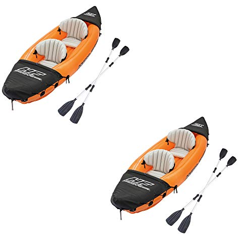Bestway 126 x 35 Inches Lite-Rapid X2 Inflatable Kayak Float with Oars (2 Pack)