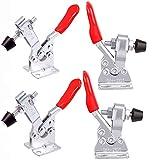 YFOX 4 pinzas de herramientas manuales de 4 piezas, abrazadera de manivela pequeña horizontal 201, cierre rápido, con mango, abrazadera para rodillas, pistón de goma