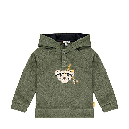 Steiff Jungen mit süßer Teddybärapplikation Sweatshirt Fleece, Dusty Olive, 80