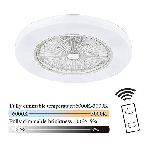 Plafondventilator met verlichting LED ventilator plafondlamp, instelbare windsnelheid dimbaar met afstandsbediening 36W moderne LED plafondlamp voor slaapkamer woonkamer eetkamer,White