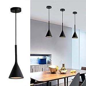 Modo Lighting Modern Pendant Light Metal Aluminum Shade Kitchen Island Ceiling Lights Mini Matte Black Hanging Lamp for Bedroom Restaurant Farmhouse (Black)