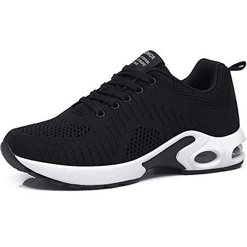GAXmi Zapatillas Deportivas de Mujer Air Cordones Zapatos de Ligero Running Fitness Zapatillas de para Correr Antideslizantes Amortiguación Sneakers Negro 40 EU