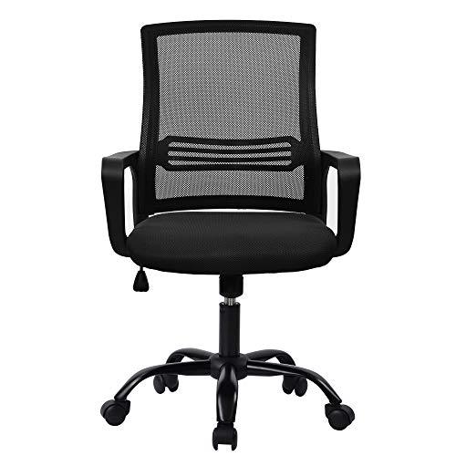 Belissy Silla de oficina, oficina, ergonómica, silla de escritorio ergonómica, silla de escritorio giratoria, silla de ordenador, silla de escritura para oficina y oficina en casa, color negro
