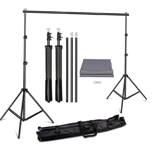 YUGAM Photography Professional Backdrop Stand Kit Background Kit Foldable with Bag and lekera Curtain Cloth (with Stand KIT, Grey)