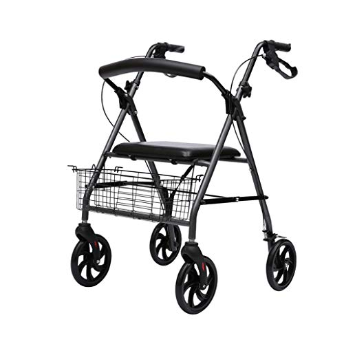 Andadores estándares y ligeros Rollator Andador For Ancianos Conveniente Plegable Ancianos Walker Carretilla Aleación De Aluminio Multifunción De Cuatro Ruedas Walker Ayuda For Caminar Andadores están