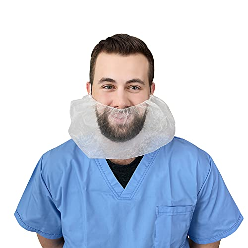 100 Pack of Disposable White Beard Covers. Industrial Grade Beard Caps. Heavy Duty Beard Caps. Facial Hair Covering. Single Loop. Breathable & Lightweight. Wholesale