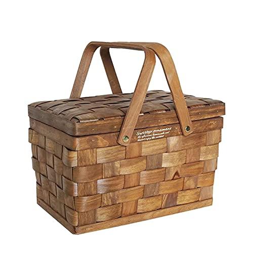 Cestino da picnic in vimini con doppio manico in salice, cestino da picnic in vimini con coperchio in legno intrecciato a mano naturale per radunare cesta nuziale